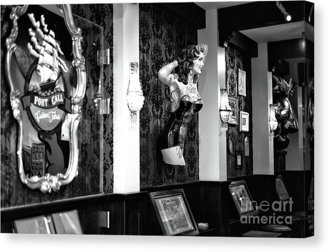 Port Call Canvas Print featuring the photograph Port Call Mono by John Rizzuto