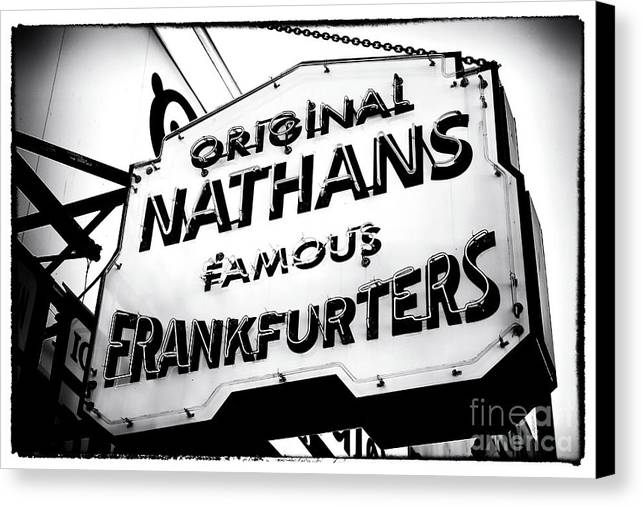 Nathans Famous Frankfurters Canvas Print featuring the photograph Nathans Famous Frankfurters by John Rizzuto