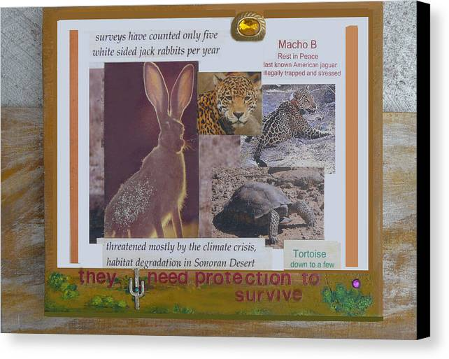 Animal Canvas Print featuring the mixed media They Need Protection To Survive by Mary Ann Leitch