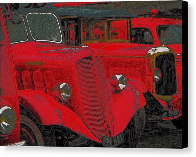 Delahaye Truck Canvas Print featuring the photograph Vintage Fire Truck Techno Art by Tony Grider