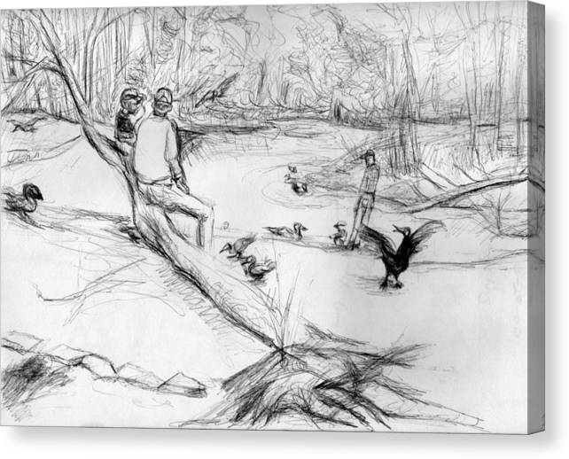 Park Scape With People Canvas Print featuring the drawing Mariners Musuem Park by Patrick Mills