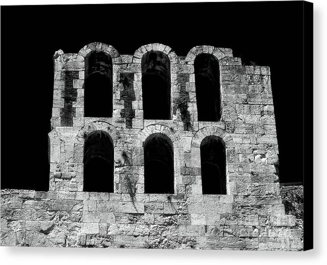 Ancient Greek Ruins Canvas Print featuring the photograph Ancient Greek Ruins by John Rizzuto