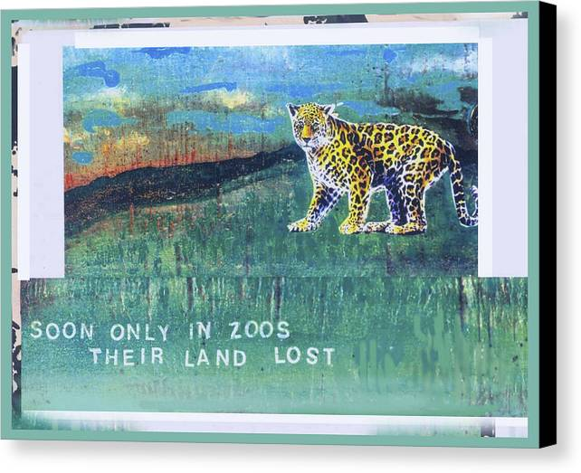 Ecology Canvas Print featuring the mixed media Soon Only In Zoos Their Land Lost by Mary Ann Leitch