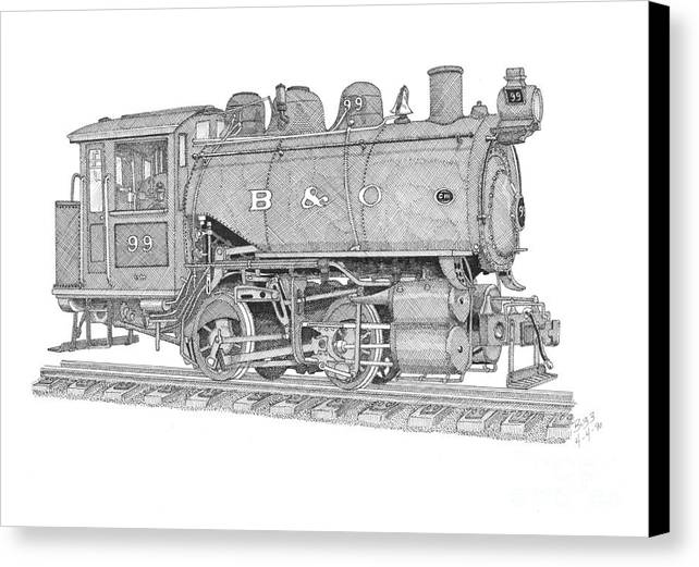 B & O Canvas Print featuring the drawing B And O Steam Switcher by Calvert Koerber