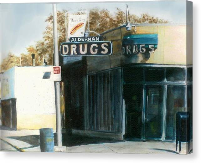 Urban Canvas Print featuring the painting Alderman Drugs by William Brody