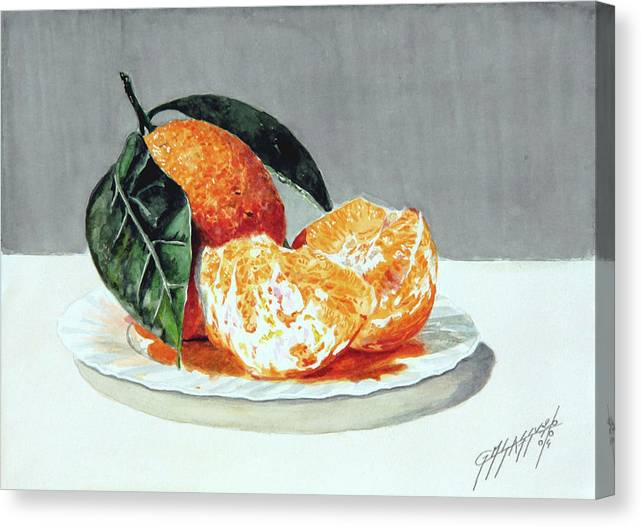 Still Life Canvas Print featuring the painting Piatto Con Arance by Giovanni Marco Sassu