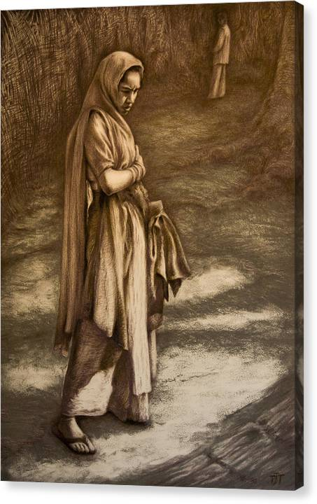 Introspective Seller Dreamer India Market Meeting Dreamscape Canvas Print featuring the drawing Streetseller by Tim Thorpe