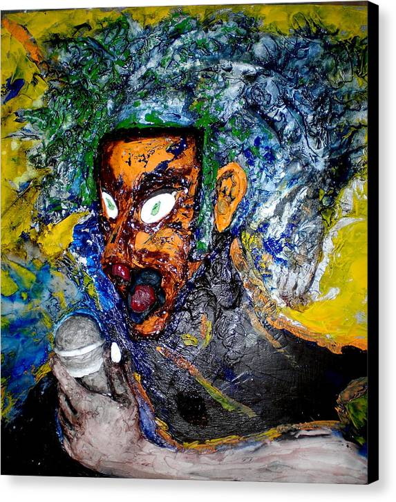 Portraits Canvas Print featuring the painting Moses Rap-part II-work In Progress by Kime Einhorn