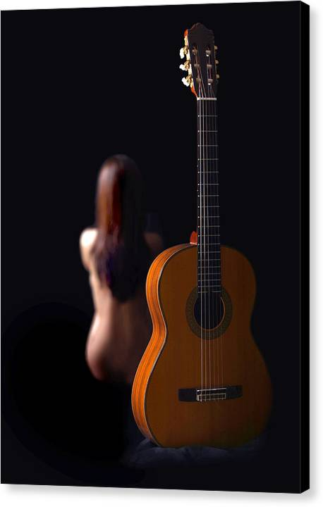 Nude Canvas Print featuring the photograph Lady And Guitar by Dario Infini