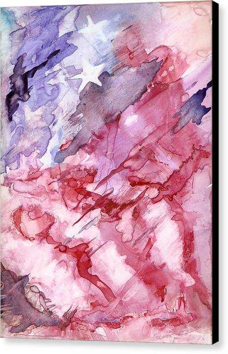 Flag Canvas Print featuring the painting Old Glory by Roger Parnow