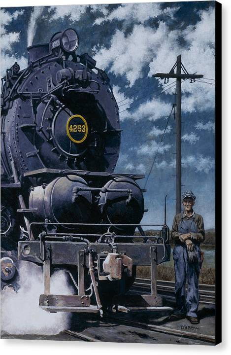 Trains Canvas Print featuring the painting A Man And His Machine by David Mittner