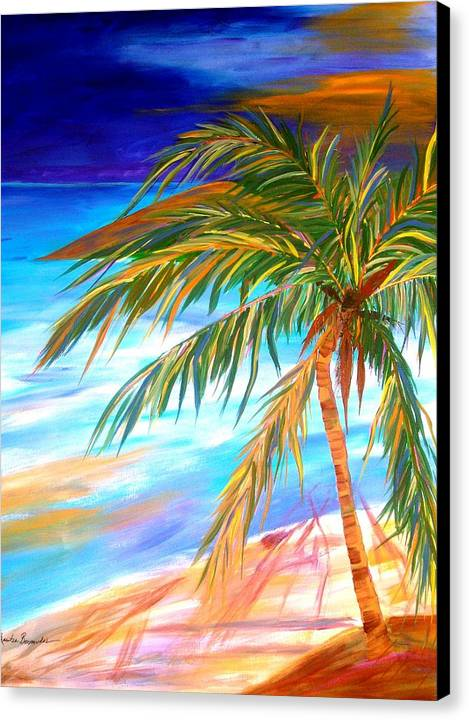 Landscape Canvas Print featuring the painting Palma Tropical II by Maritza Bermudez