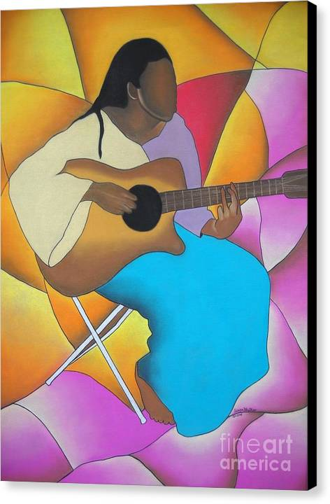 African American Art Canvas Print featuring the drawing Guitar Player by Sonya Walker