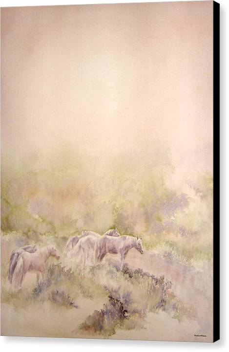 Horses Canvas Print featuring the painting Assateague Ponies by Barbara Widmann