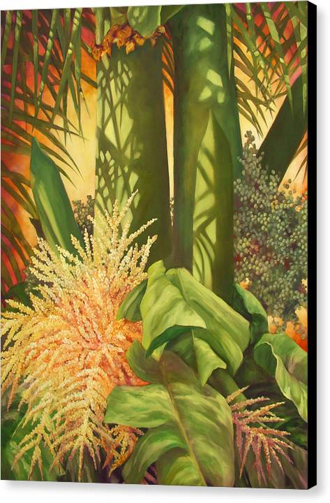 Palm Tree Canvas Print featuring the painting Bouquet Of Palm by Monica Linville