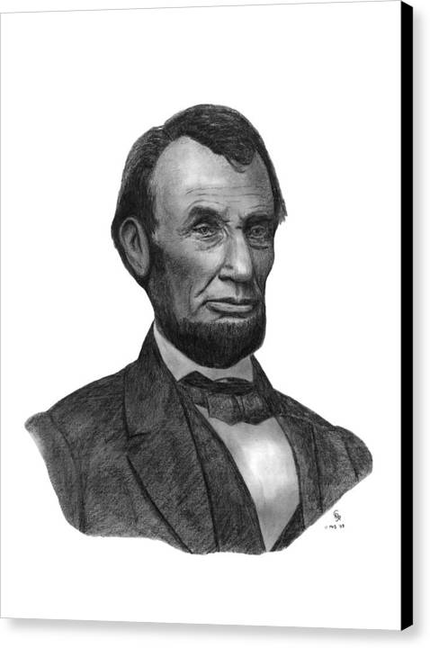 President Canvas Print featuring the drawing President Abraham Lincoln by Charles Vogan
