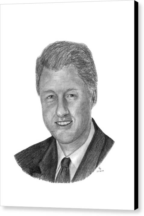 Clinton Canvas Print featuring the drawing President Bill Clinton by Charles Vogan