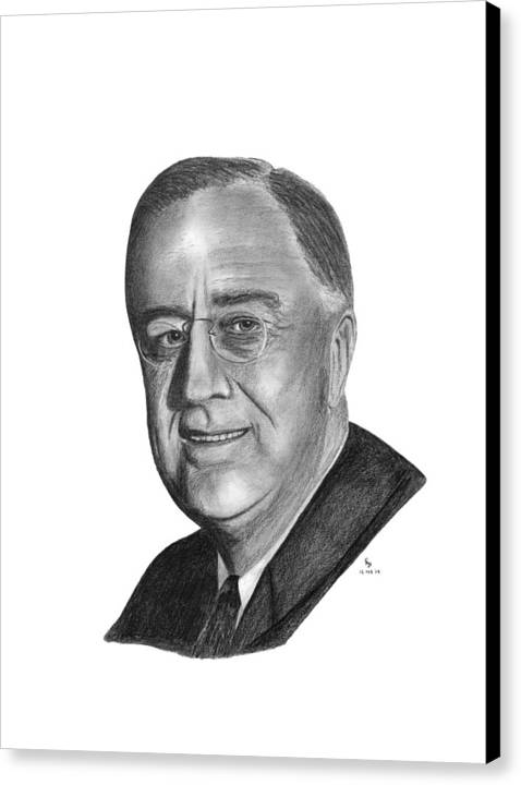 President Canvas Print featuring the drawing President Franklin Roosevelt by Charles Vogan