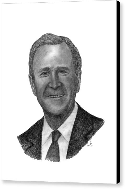 President Canvas Print featuring the drawing President George W Bush by Charles Vogan
