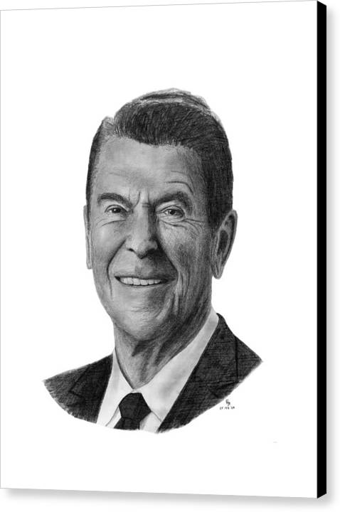 President Canvas Print featuring the drawing President Ronald Reagan by Charles Vogan