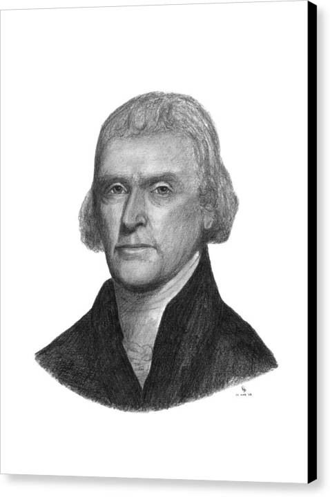 Jefferson Canvas Print featuring the drawing President Thomas Jefferson by Charles Vogan