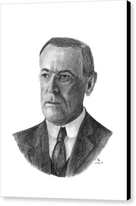 President Canvas Print featuring the drawing President Woodrow Wilson by Charles Vogan