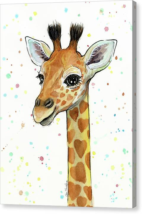 Baby Giraffe Watercolor with Heart Shaped Spots by Olga Shvartsur