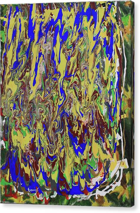 Abstract Expressionism Canvas Print featuring the painting In The Land Of Blue And Gold by Art Enrico