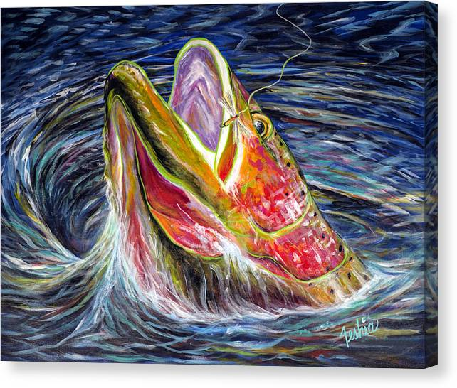 Trout Canvas Print featuring the painting Haunted Waters by Teshia Art