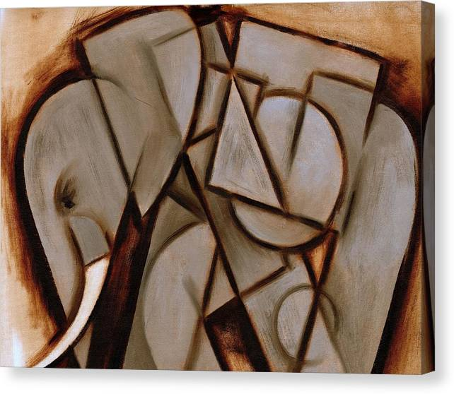 Elephant Canvas Print featuring the painting Tommervik Abstract Cubism Elephant Art Print by Tommervik
