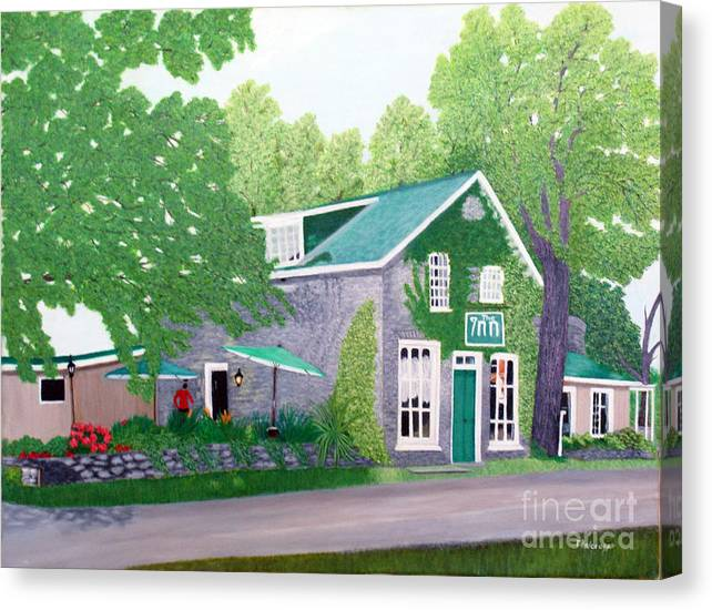 Historic Canvas Print featuring the painting Inn on Lake n the Mountain by Peggy Holcroft