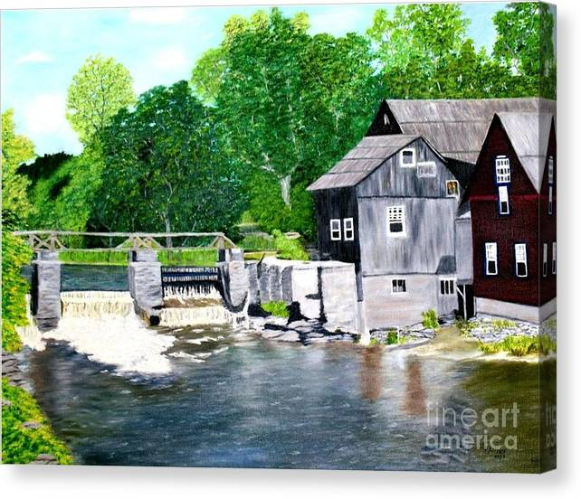Mill Canvas Print featuring the painting Stockdale Apple Cider and Grist Mills by Peggy Holcroft