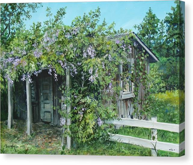 Landscape Canvas Print featuring the painting Carl's Shed by William Brody