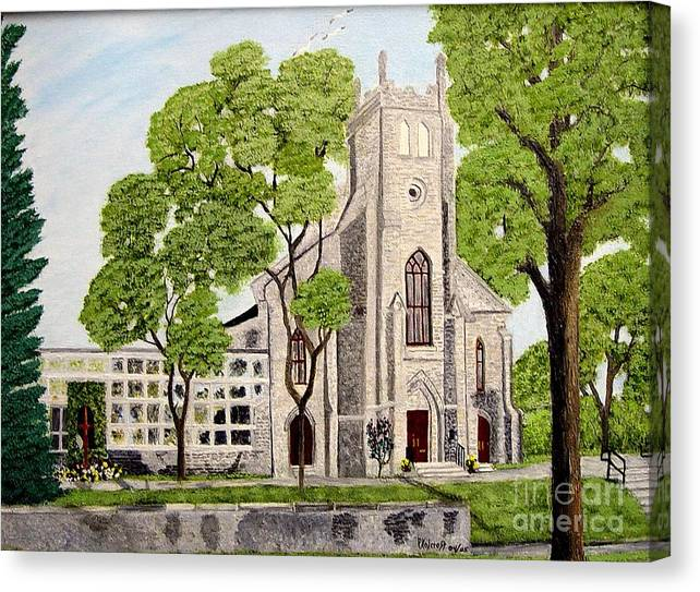 Historic Churches In Ontario Painting Canvas Print featuring the painting St.Thomas Anglican Church Belleville Circa1821 by Peggy Holcroft