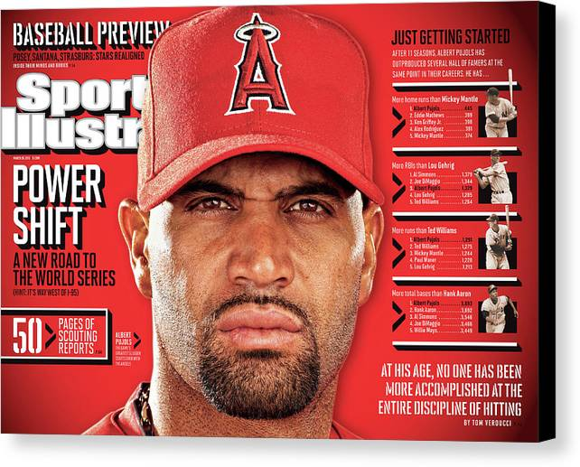 Magazine Cover Canvas Print featuring the photograph Los Angeles Angels Of Anaheim Albert Pujols, 2012 Mlb Sports Illustrated Cover by Sports Illustrated
