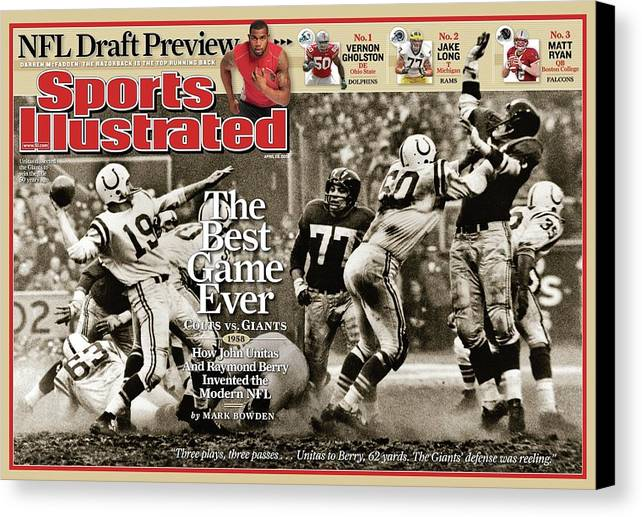 Magazine Cover Canvas Print featuring the photograph The Best Game Ever 1958 Colts Vs. Giants Sports Illustrated Cover by Sports Illustrated