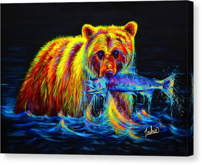 Grizzly Canvas Print featuring the painting Night of the Grizzly by Teshia Art
