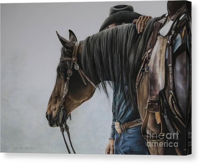 Cowboy Canvas Print featuring the pastel The Bond by Joni Beinborn