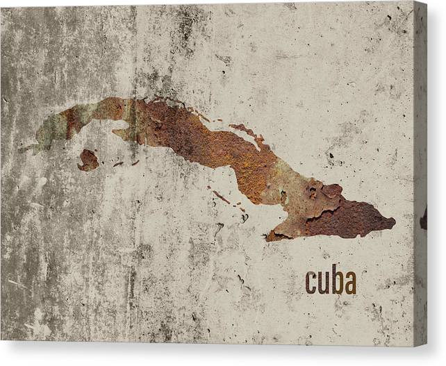 Cuba Map Rusty Cement Country Series by Design Turnpike