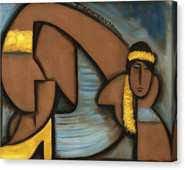 Hula Girl Canvas Print featuring the painting Cubist Hawaii Hula Girl Art Print by Tommervik