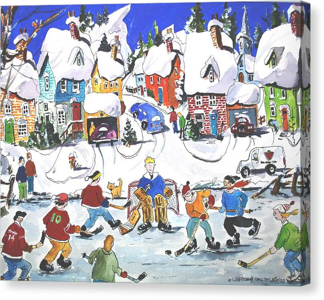 Sports Ice Hockey Children At Play Village Scene Winter Canvas Print featuring the painting Shinney by Wilfred McOstrich
