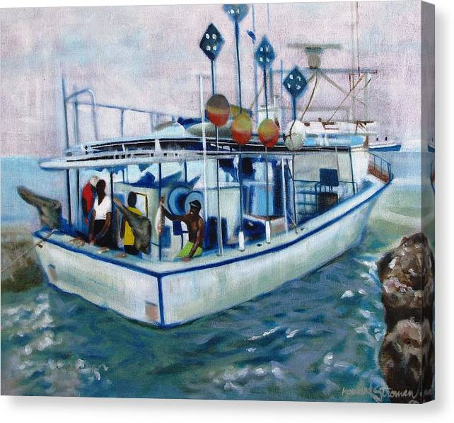 Fishing;boat;water;vacation;recreation;fishermen;aquatic;boat Painting;fishing Painting; Canvas Print featuring the painting Fishermen by Howard Stroman