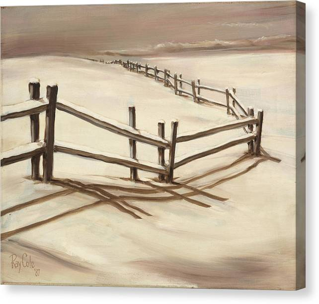 Split-rail Fence Canvas Print featuring the painting Snowy Fence Forever by Ray Cole