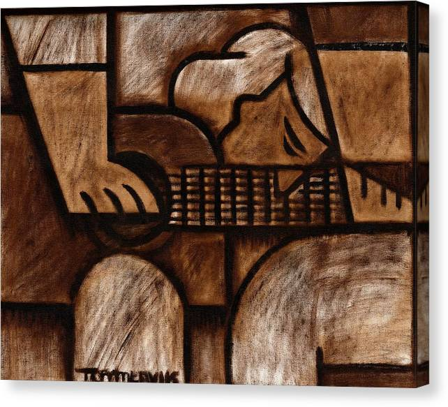 Guitar Canvas Print featuring the painting Tommervik Man Playing Acoustic Guitar Art by Tommervik