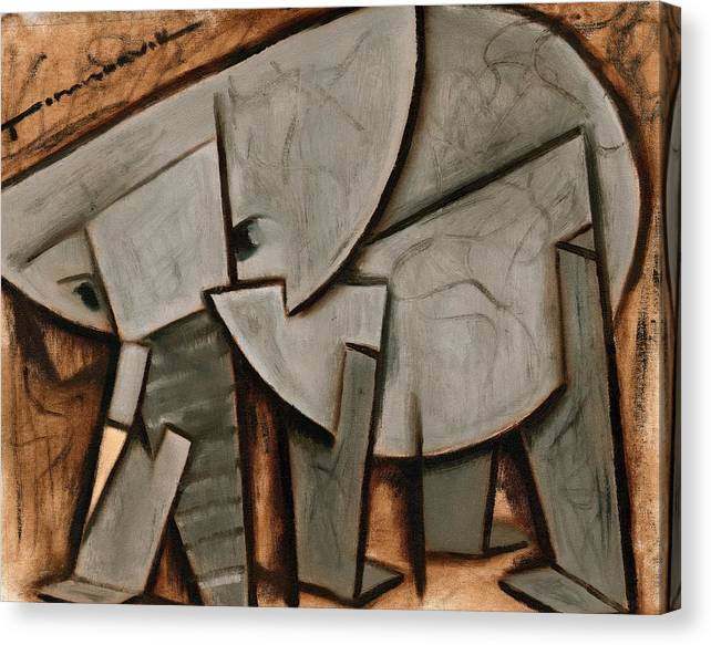 Elephant Canvas Print featuring the painting Tommervik Abstract Elephant Art Print by Tommervik