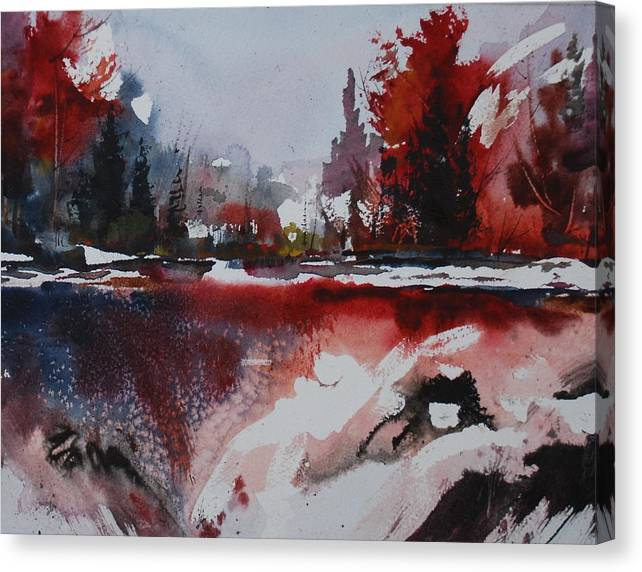 Forest Abstract Lakes Snow Winter Canvas Print featuring the painting Winter Firerworks by Wilfred McOstrich