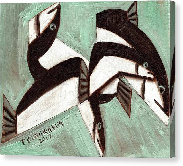 Fish Canvas Print featuring the painting Tommervik Abstract Fish by Tommervik