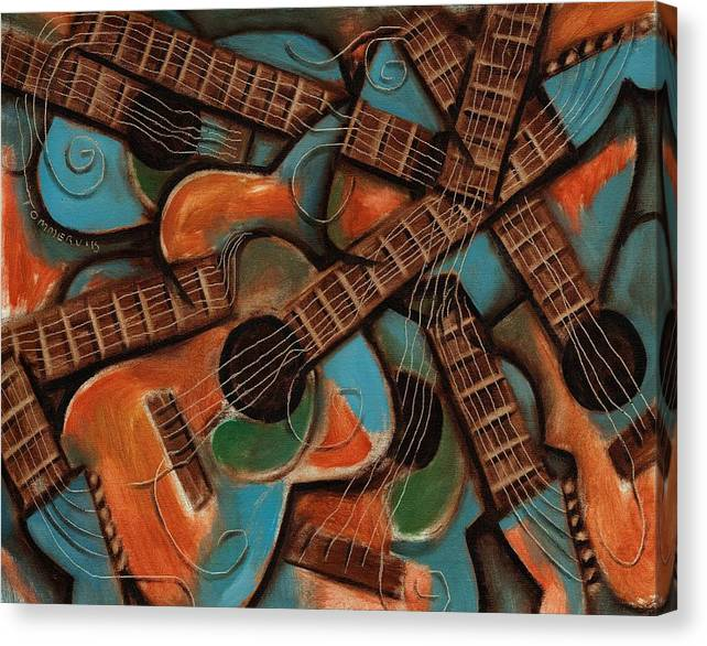 Guitar Canvas Print featuring the painting Tommervik Abstract Guitars Art Print by Tommervik