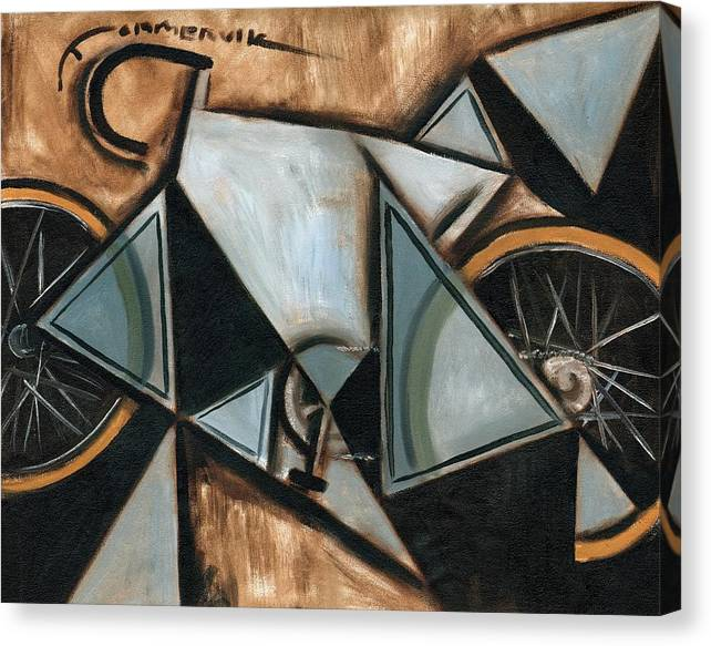 Cycling Canvas Print featuring the painting Tommervik Geometric Ten Speed Bike Art Print by Tommervik