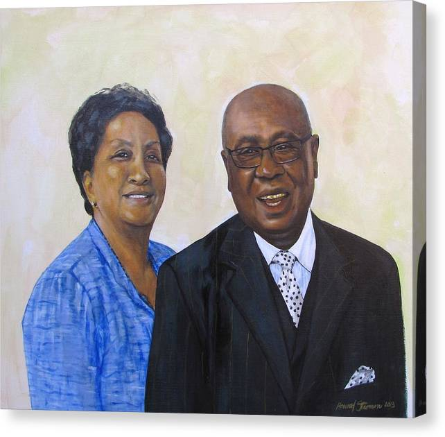 Portrait Canvas Print featuring the painting Pastor Donahue And Yvonne Green by Howard Stroman
